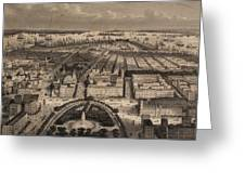 Vintage Pictorial Map Of New York City - 1840 Greeting Card