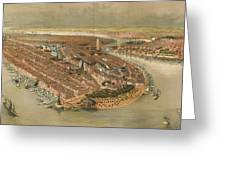 Vintage Pictorial Map Of New York City - 1874 Greeting Card