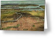 Vintage Pictorial Map Of Newark Nj - 1916 Greeting Card