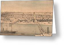 Vintage Pictorial Map Of Newport News Va - 1862 Greeting Card