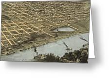 Vintage Pictorial Map Of Omaha Nebraska - 1868 Greeting Card
