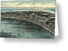 Vintage Pictorial Map Of Provincetown - 1910 Greeting Card