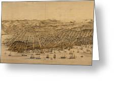 Vintage Pictorial Map Of San Francisco - 1868 Greeting Card