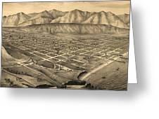 Vintage Pictorial Map Of Santa Barbara Ca - 1877 Greeting Card