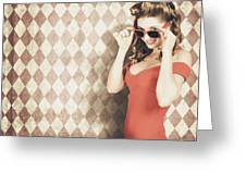 Vintage Pinup Fashion Model In Womens Sunglasses Greeting Card