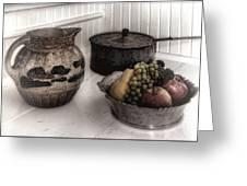 Vintage Pitcher, Pan, And Fruit Bowl Greeting Card
