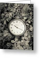Vintage Pocket Watch Over Flowers Greeting Card