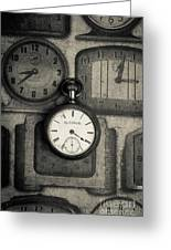 Vintage Pocket Watch Over Old Clocks Greeting Card