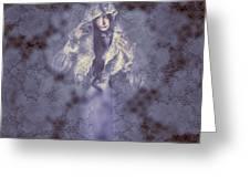 Vintage Portrait. Elegant Girl Wearing Lace Veil Greeting Card