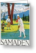 Vintage Poster Advertising Samaden In Switzerland Greeting Card