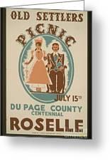 Vintage Poster Old Settlers Picnic Greeting Card
