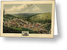 Vintage Pottsville Pennsylvania Etching With Remarque Greeting Card