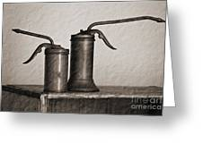 Pump Oil Cans  Greeting Card