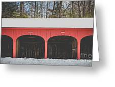 Vintage Red Carriage Barn Lyme Greeting Card