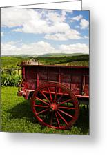 Vintage Red Wagon Greeting Card