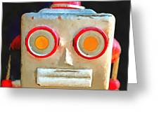 Vintage Robot Toy Square Pop Art Greeting Card