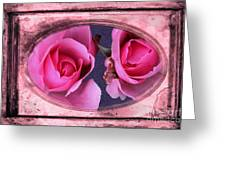 Vintage Rose Bud Plate Frame Painting Greeting Card