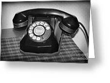 Vintage Rotary Phone Black And White Greeting Card