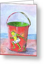 Vintage Sand Pail Dancing Frogs Greeting Card
