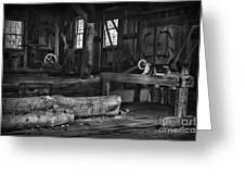 Vintage Sawmill In Black And White Greeting Card