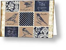 Vintage Songbird Patch 2 Greeting Card