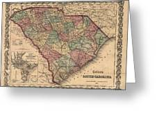 Vintage South Carolina Map Greeting Card