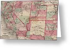 Vintage Southwestern United States Map - 1869 Greeting Card