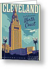 Cleveland Poster - Vintage Style Travel  Greeting Card