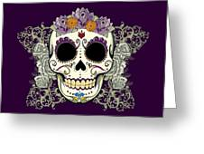Vintage Sugar Skull And Flowers Greeting Card