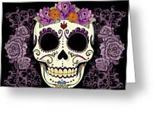 Vintage Sugar Skull And Roses Greeting Card