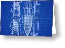 Vintage Surf Board Patent Blue Print 1950 Greeting Card