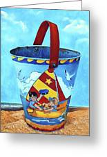 Vintage Tin Sand Bucket Greeting Card
