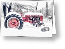 Vintage Tractor Christmas Greeting Card