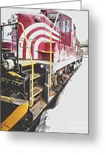 Vintage Train Locomotive Greeting Card