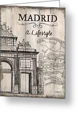 Vintage Travel Poster Madrid Greeting Card