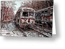 Vintage Trolley Streetcars Greeting Card