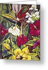 Vintage Tropical Flowers Greeting Card