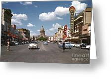 Vintage View Downtown Austin Looking Up Congress Avenue In Front Greeting Card