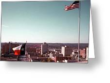 Vintage View Of The Texas And Usa Flags Flying On Top Of Texas State Capitol Greeting Card