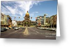 Vintage View Of The Texas State Capitol And Downtown Austin From September 1968 Greeting Card