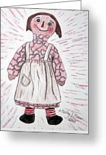 Vintage Volland Raggedy Ann Cloth Doll Greeting Card