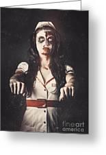 Vintage Walking Dead Horror Nurse Greeting Card