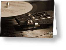 Vinyl Record Playing On A Turntable In Sepia Greeting Card