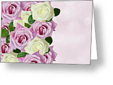 Violet  And White Roses Greeting Card