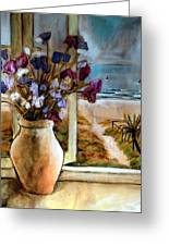 Violet Beach Flowers Greeting Card