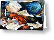 Violin - Palette Knife Oil Painting On Canvas By Leonid Afremov Greeting Card