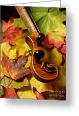 Violin Scroll With Fall Maple Leaves Greeting Card