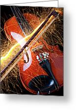 Violin With Sparks Flying From The Bow Greeting Card by Garry Gay