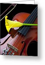 Violin With Yellow Calla Lily Greeting Card