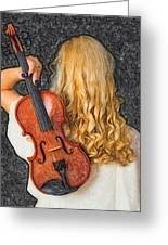 Violin Woman - Id 16218-130709-0128 Greeting Card